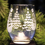 Stemless Christmas Glass